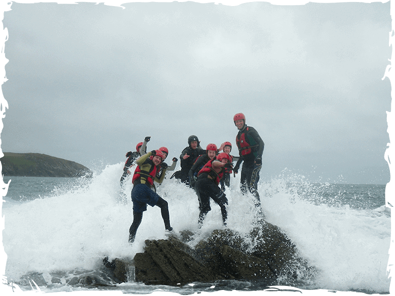 Rough water coasteering around Abereiddy bay