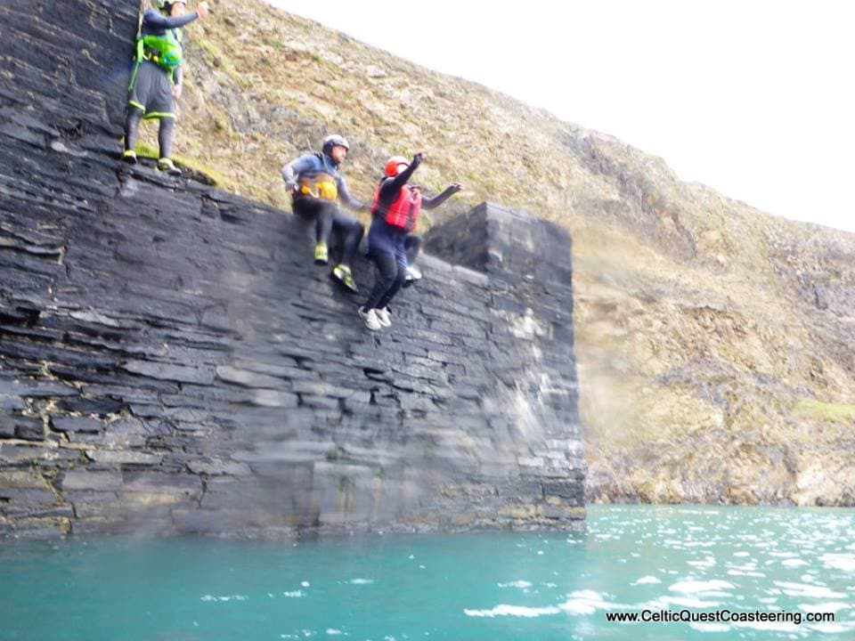 Emily Rose Yates Cliff Jumping while Coasteering in Pembrokeshire
