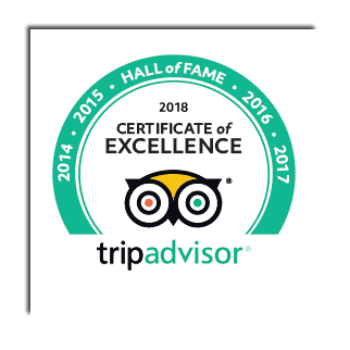 Trip Advisor Certificate of Excellence 2018 - Hall of Fame!