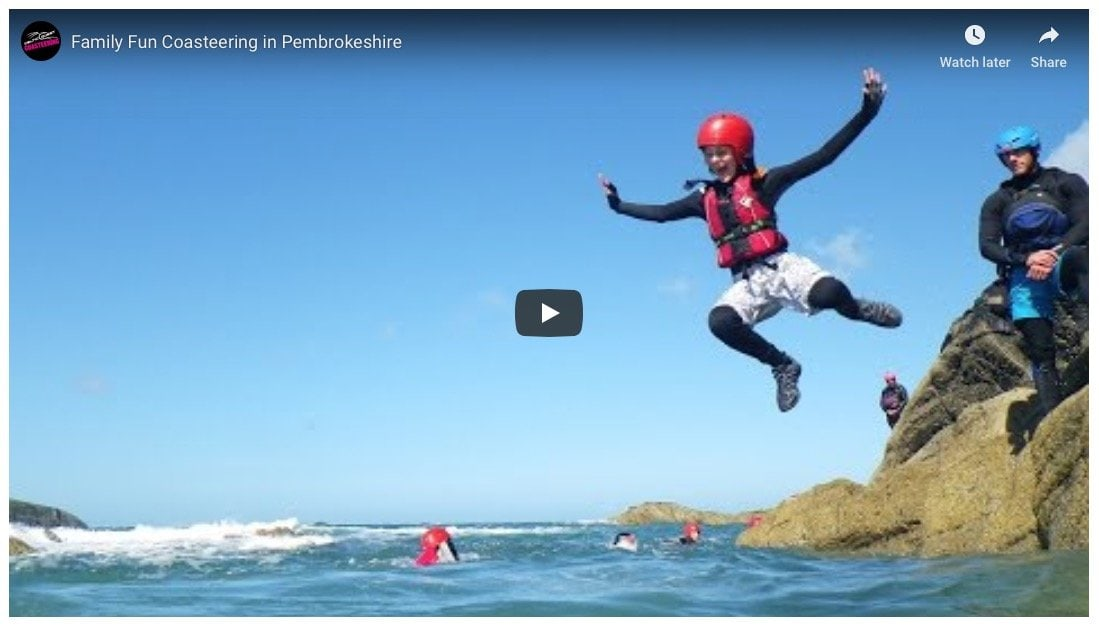 Family Coasteering movie. Collection of video clips of families and children having fun coasteering in Pembrokeshire with Celtic Quest Coasteering.